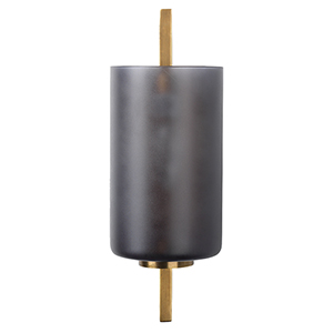 Antique Brass And  Gray Frosted Glass One-Light Wall Sconce
