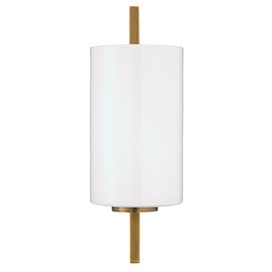 Antique Brass And White Glass One-Light Wall Sconce