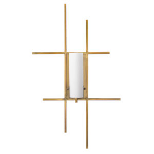 Geneva Antique Brass and Opal White Resin Shades One-Light Wall Sconce