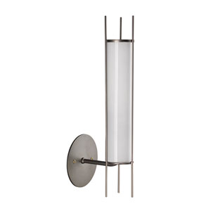 Italo Gun Metal and Opaque White Milk Glass Two-Inch Sconce