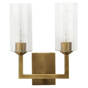 Linear Antique Brass and Clear Glass Two-Light Wall Sconce