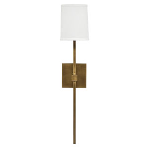 Minerva Antique Brass and White Linen One-Light Wall Sconce