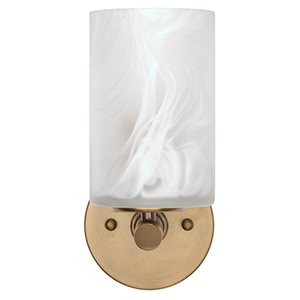Transparent White Swirl And Antique Brass One-Light Wall Sconce