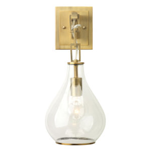 Clear Glass with Antique Brass One-Light Wall Sconce