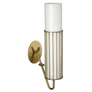 Torino Antique Brass and Opaque White Milk Glass Three-Inch Sconce