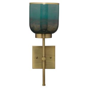 Vapor Antique Brass and Aqua Metallic Glass One-Light Wall Sconce