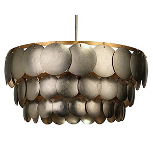 Calypso Champagne Leaf And Gold Leaf Trim Four-Light Chandelier