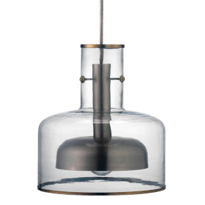 Clyde Clear with Gun Metal One-Light Pendant