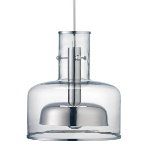 Clyde Clear with Nickel One-Light Pendant