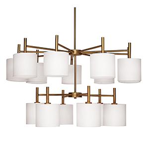 Ellis Antique Brass And White Linen Shades 15-Light Chandelier
