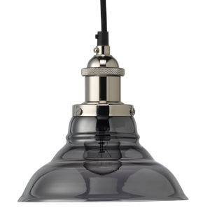 Factory Nickel Smoke Eight-Inch One-Light Mini Pendant