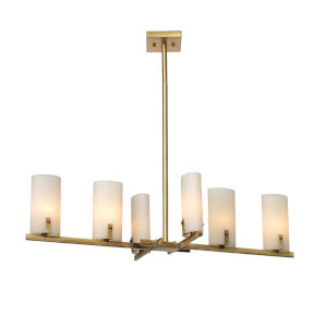 Geneva Antique Brass with White Resin Shades Six-Light Chandelier