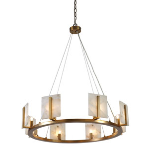 Halo Antique Brass Eight-Light Chandelier
