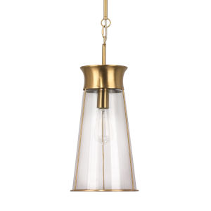 Nara Clear Glass and Antique Brass One-Light Pendant