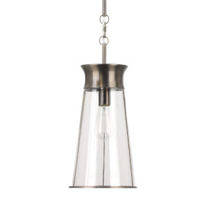 Nara Clear Glass and Gun Metal One-Light Pendant