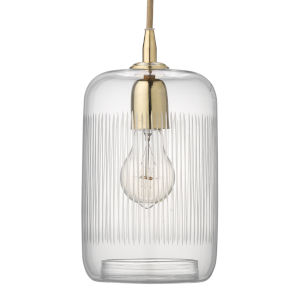 Silhouette Clear with Brass One-Light Mini Pendant