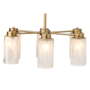 Streamer Antique Brass with Streamer Glass Six-Light Chandelier