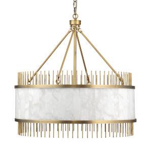 Upsala Antique Brass and White Alabaster Eight-Light Chandelier