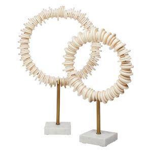 Arena Cream Antique Brass White Decorative Ring Sculpture