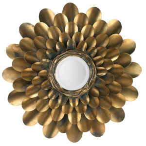 Bouquet Antique Brass 36 x 36 Inch Mirror