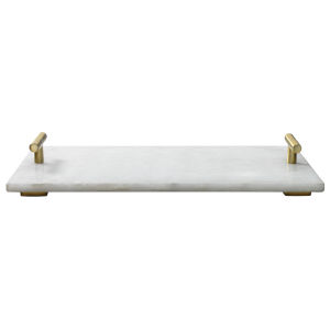 Carter White Marble and Antique Brass Marble Serving Tray