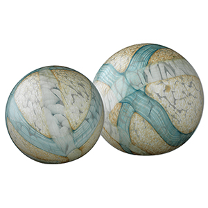 Cosmos Pale Blue Glass Ball, Set Of 2