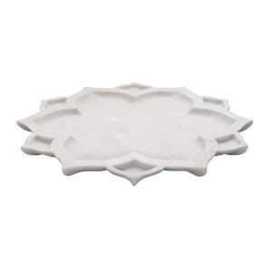 White Marble Lotus Serving Platter