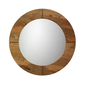 Owen Natural Wood and Antique Brass Mirror
