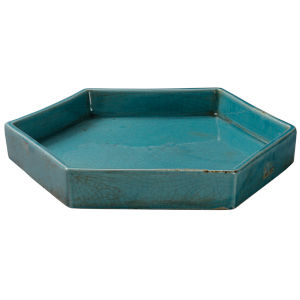 Porto Blue Ceramic 13-Inch Ceramic Serving Tray