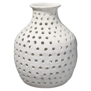 Porous Matte White Ceramic Vase