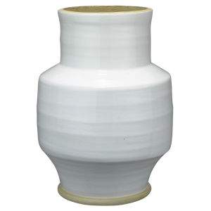 Solstice White and Natural Ceramic  Vase