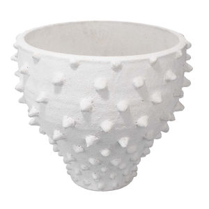 Spike Textured Matte White Ceramic Vase