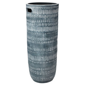 Zion Gray and White Ceramic 28-Inch Ceramic Vase