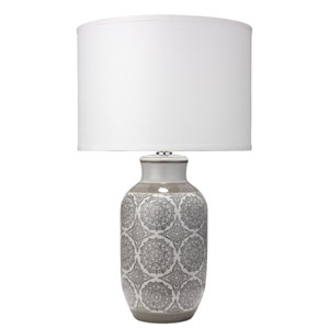 Beatrice Grey Patterned Ceramic 16-Inch Table Lamp