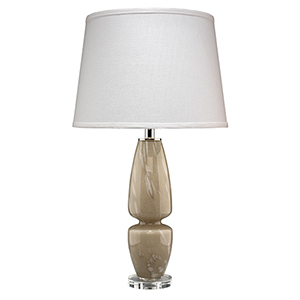 Belted Taupe Glass Table Lamp