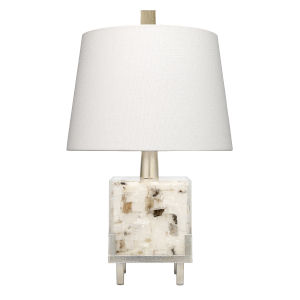 Bijou White Grey and Champagne Leaf One-Light Table Lamp