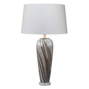 Bridgette Gray and Black Swirl Glass One-Light Table Lamp
