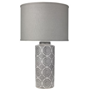 Calliope Grey Patterned Ceramic 18-Inch Table Lamp