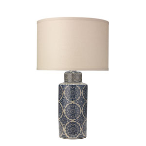 Delilah Blue Patterned Ceramic 15-Inch Table Lamp