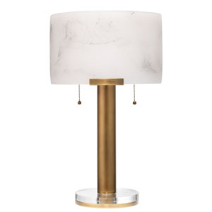 Elancourt White and Antique Brass Two-Light Table Lamp