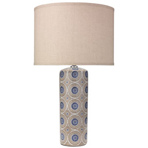 Fiona Blue Patterned Ceramic 16-Inch Table Lamp