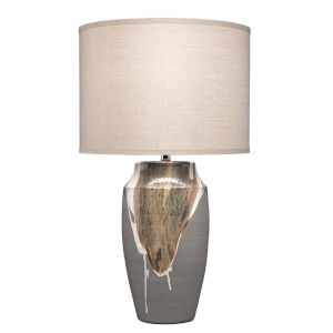 Landslide Matte Gray with Beige and White Drip One-Light Table Lamp