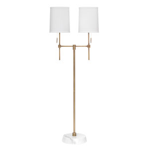 Minerva Antique Brass and White Marble Two-Light Floor Lamp