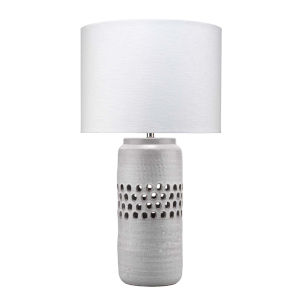 Perforated Matte Frosted Gray One-Light Table Lamp