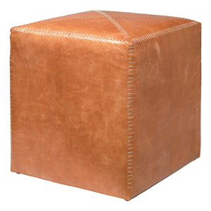 Buff Leather Small Ottoman