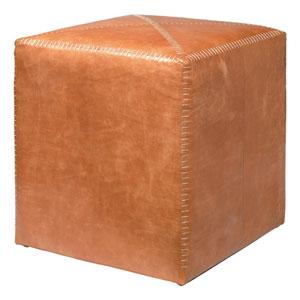 Buff Leather Small Ottoman