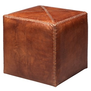 Tobacco Leather Small Ottoman