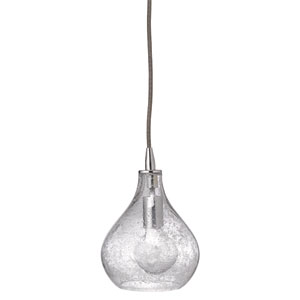 Clear Seeded Glass Small Curved Mni-Pendant