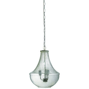 Clear Seeded Glass Three-Light 20.5-Inch Chandelier
