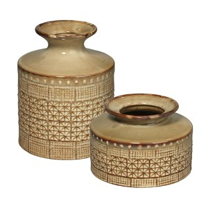 Astral Taupe Ceramic Vase, Set of 2